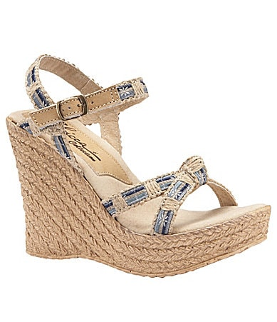 Sbicca Sydney Denim-Accented Wedge Sandal