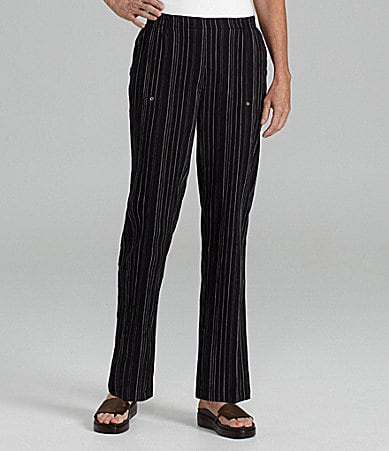 Allison Daley Petites Crinkle Stripe Pull-On Pants