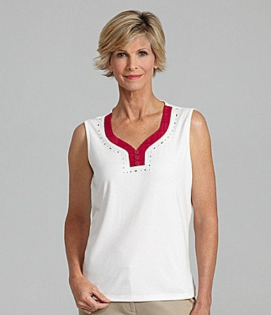 Allison Daley Petites Trimmed Sweetheart Neck Tank