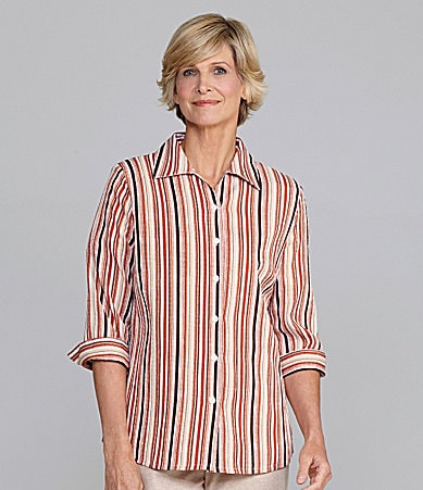 Allison Daley Petites Striped Pucker-Texture Blouse