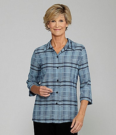 Allison Daley Petites Texture Plaid Blouse