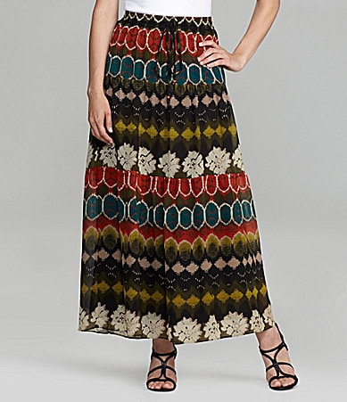 ECI Printed Drawstring Maxi Skirt