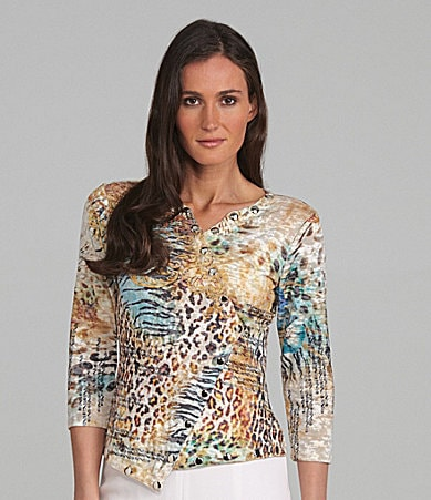 IQ Paris Animal Print Snap Front Top