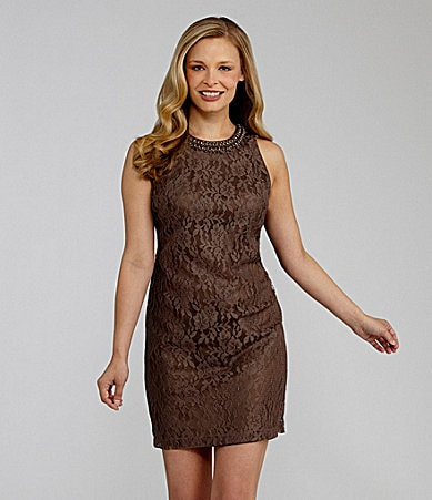 Maggy London Bead-Trim Lace Sheath Dress