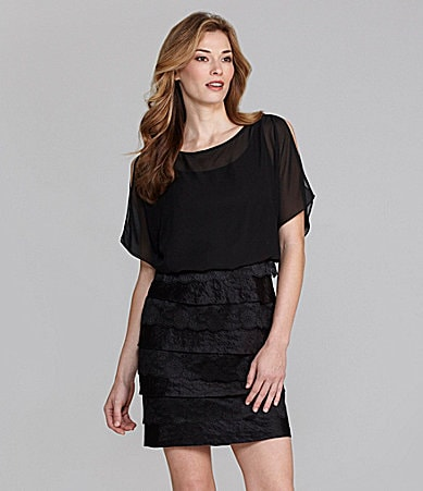 London Times Woman Cold-Shoulder Blouson Dress