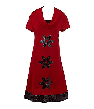 I.N. Girl 7-16 Sequined Flower A-Line Dress