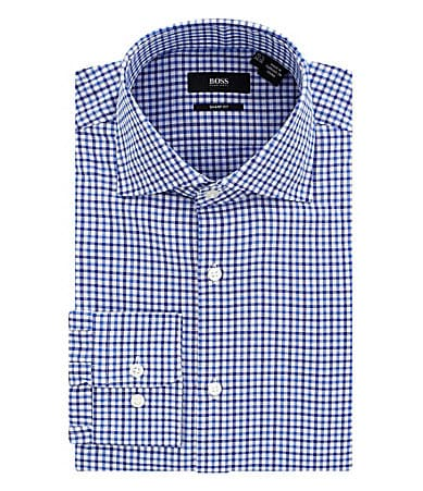 Hugo Boss Gingham Check Spread Collar Dress Shirt