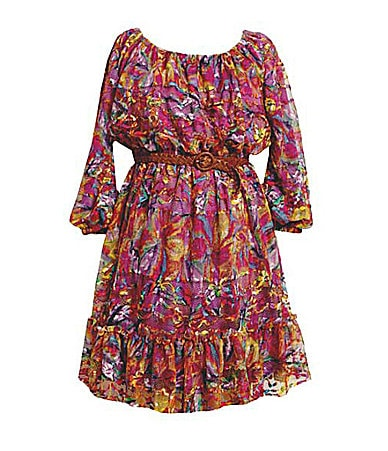 Bonnie Jean 7-16 Long-Sleeve Peasant Style Lace-Print Dress