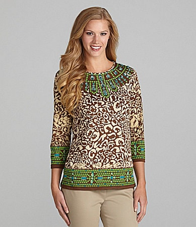 Multiples Animal-Print Bead-Trim Top