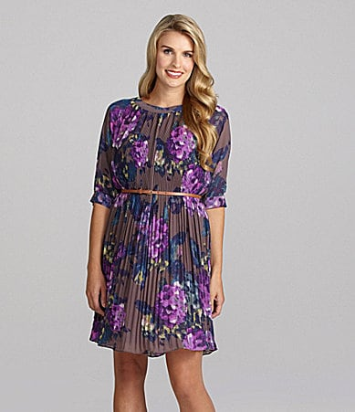 Jessica Howard Woman Floral-Print Accordion-Pleat Dress