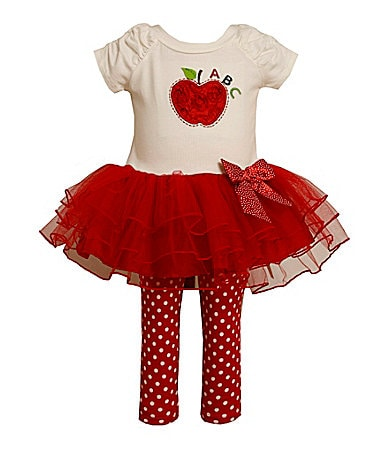 Bonnie Baby Newborn Apple Tutu Dress & Leggings Set