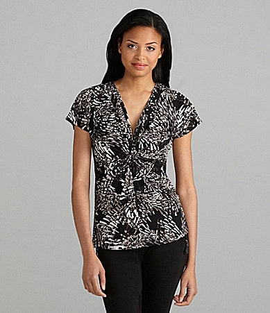 Chaus Abstract Petals Print Top