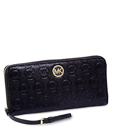 MICHAEL Michael Kors Signature Monogram Embossed Zip-Around Wallet
