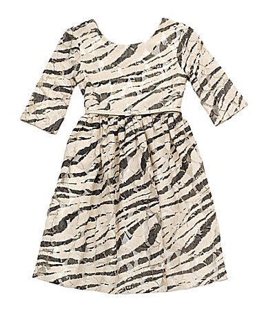 Rare Editions 7-16 Zebra-Print Lace Elbow-Sleeve Dress