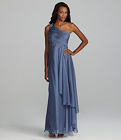 JS Collections Jewel-Shoulder Chiffon Gown