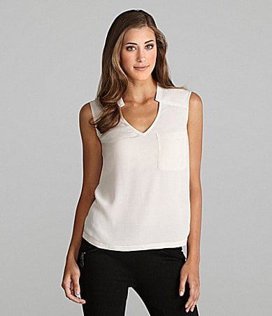 Kensie V-Neck Seam-Detail Pocket Top