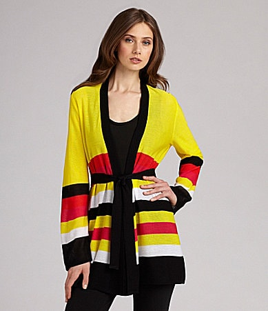 Exclusively Misook Bold Stripe Cardigan