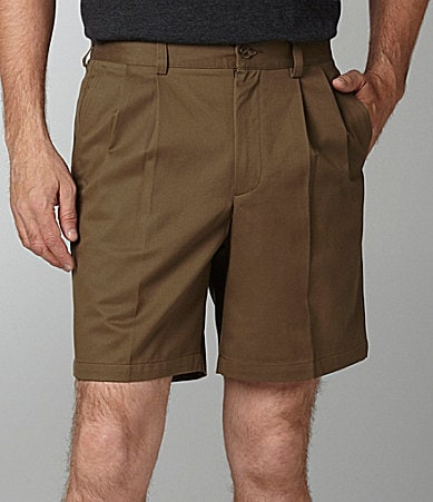 Roundtree & Yorke Big & Tall Easy Care Twill Pleated Side-Elastic Shorts