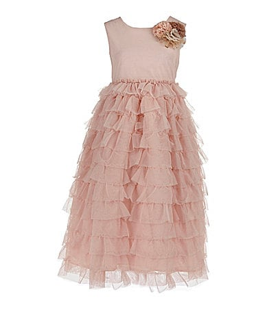 Pippa & Julie 2T-6X Blush Mesh Tiered Floral Dress