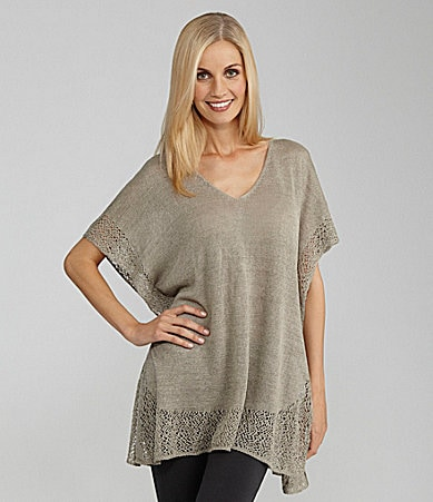 Eileen Fisher V-Neck Crochet-Trim Tunic