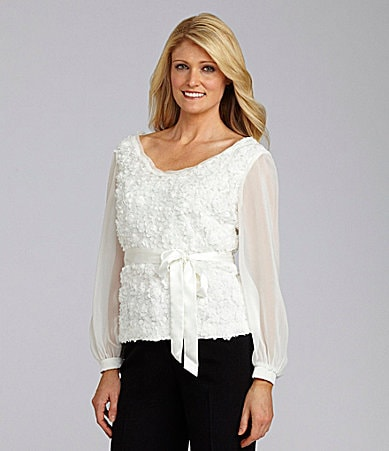 KM Collections Chiffon Lace Blouse
