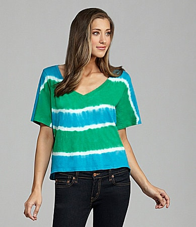 C & C California Tie-Dye Stripe Crop Tee