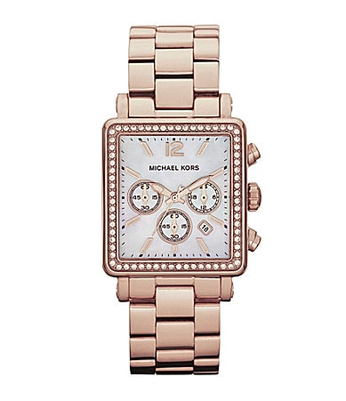 Michael Kors Hudson Ladies Rose Goldtone Chronograph Watch
