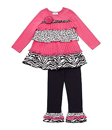 Rare Editions 2T-6X Mixed Ruffle Tiered Tunic & Leggings Set