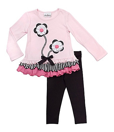 Rare Editions 2T-6X Top & Flower Applique Leggings Set