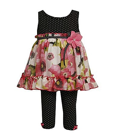 Bonnie Jean 2T-6X Dot Chiffon Dress & Leggings Set
