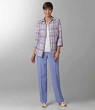Allison Daley Textured-Plaid Camp Shirt, Double-V-Neck Knit Top, & Regatta-Linen-Look Pull-On Pants