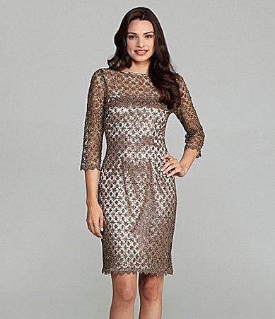Cachet Fully-Lined Lace Dress With Scalloped Trim