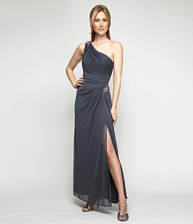 Alex Evenings One-Shoulder Mesh Gown