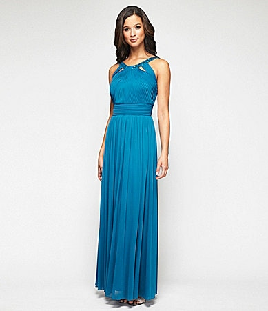 Alex Evenings Bead-Neck Cutout Gown