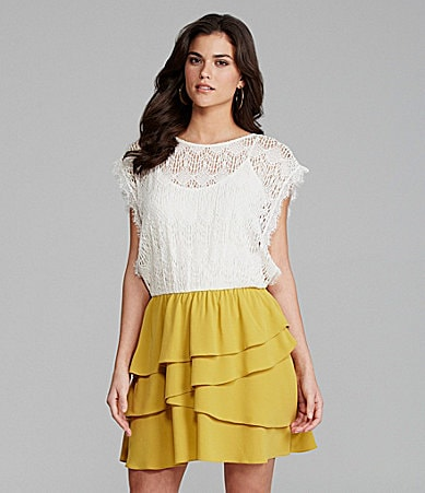 Gianni Bini Concord Lace Tier-Skirt Dress