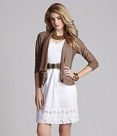 Cremieux Imani Open Cardigan & Maria Belted Eyelet Dress