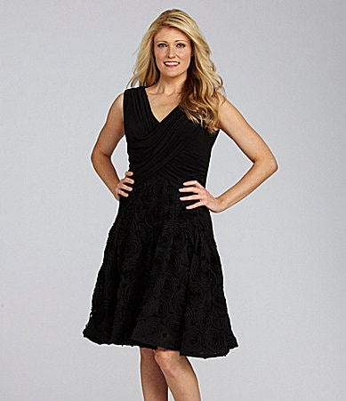 Adrianna Papell Rosette-Skirt Dress