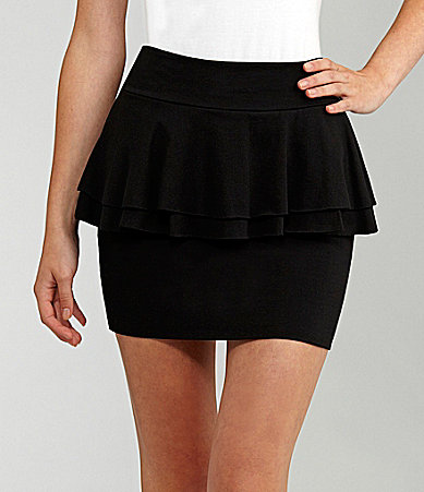 Lily White Peplum Bodycon Skirt