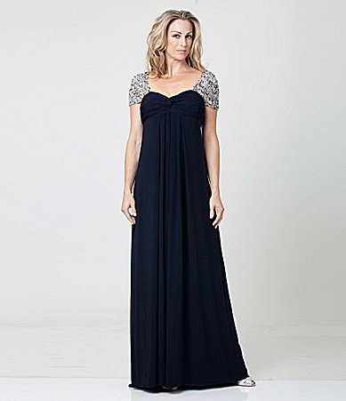 JS Boutique Beaded Jersey Gown
