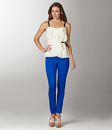 Vince Camuto Crystal Pleated Blouse & Signature Skinny Jeans