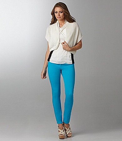 Vince Camuto Ribbed Shrug, Crisscross Mixed-Media Blouse & Signature Skinny Jeans