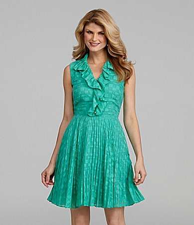 Antonio Melani Nellanne Square-Pattern Ruffle Dress