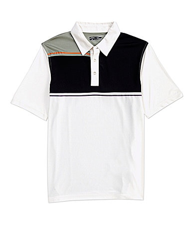 Callaway Big & Tall Short-Sleeve Striped Colorblocked Polo Shirt