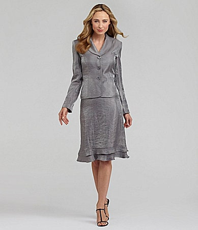 Kasper 2-Piece Satin-Shimmer Skirted Suit