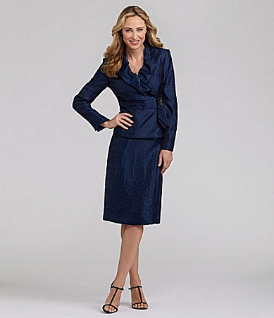 Kasper 2-Piece Ruffle-Collar Skirted Suit