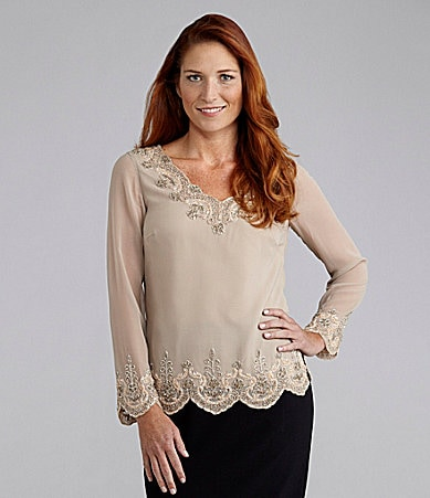 Adrianna Papell V-Neck Bead-Trim Top
