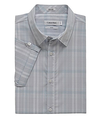 Calvin Klein Roll-Up Sleeve Madras Poplin Sportshirt