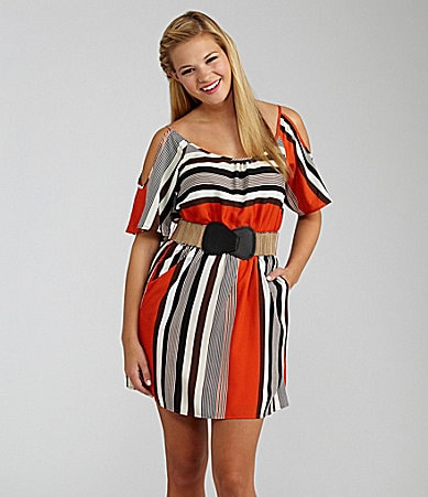 Takara Striped Cold-Shoulder Dress