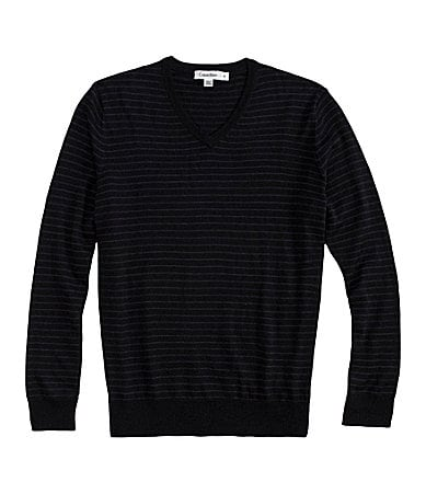 Calvin Klein Merino Striped V-Neck Sweater