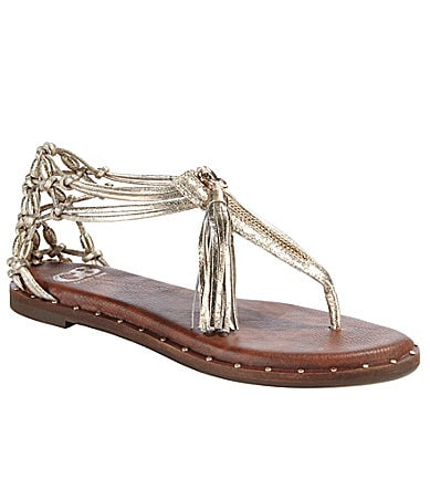 GB Gianni Bini Go-Wild T-Strap Woven Sandals